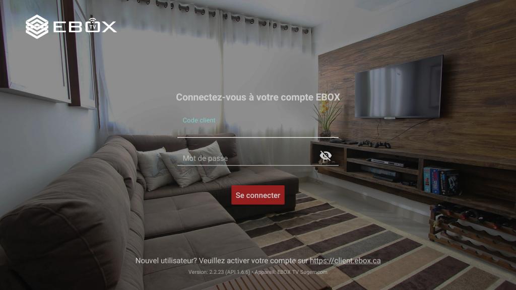 Login application EBOX TV