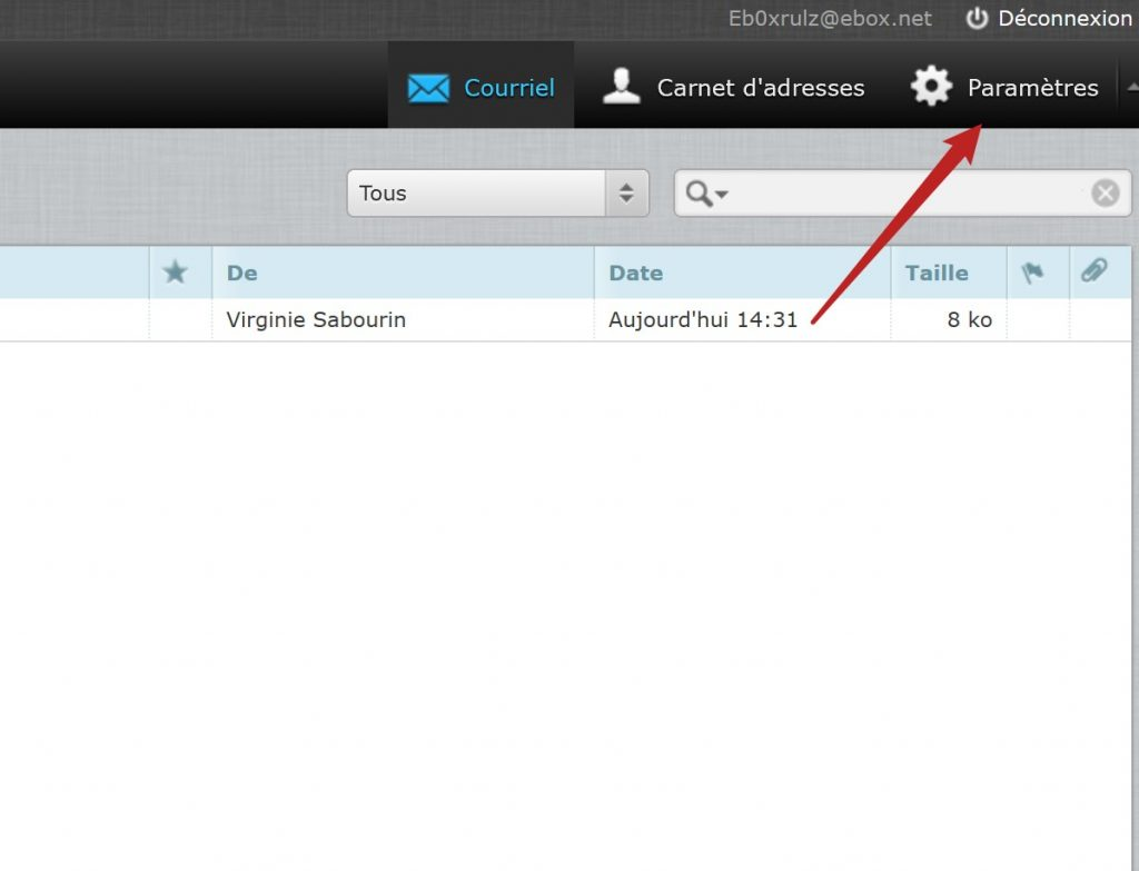 paramètres webmail